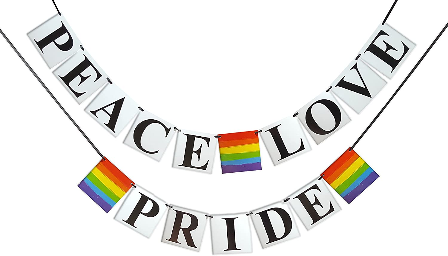 Peace, Love, Pride Banner - Gay Pride Flag Themed, Rainbow Colored - Gay, Lesbian, LGBT Party Decoration