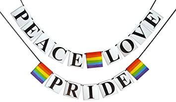 Amazon Com Peace Love Pride Banner Gay Pride Flag Themed