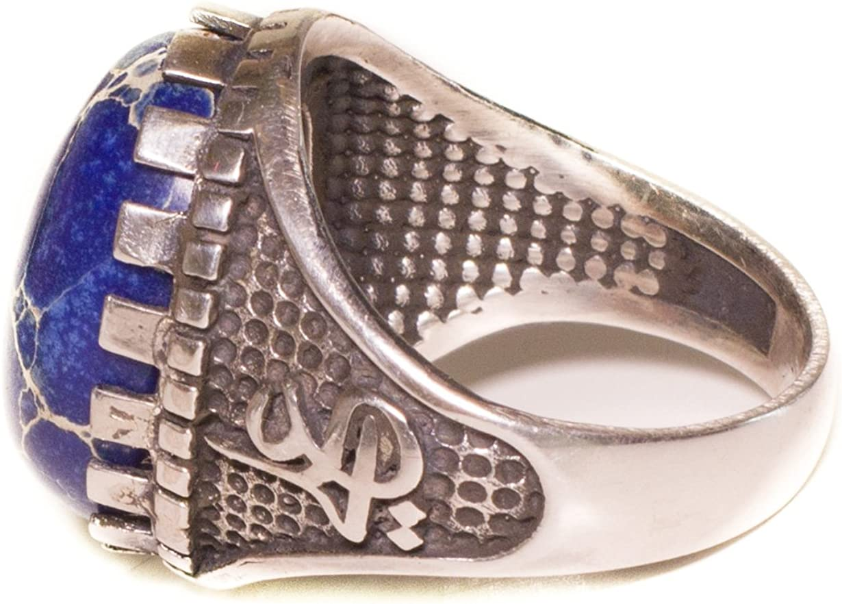 Falcon Jewelry Mens Sterling Silver Ring Sodalite Natural Gemstone