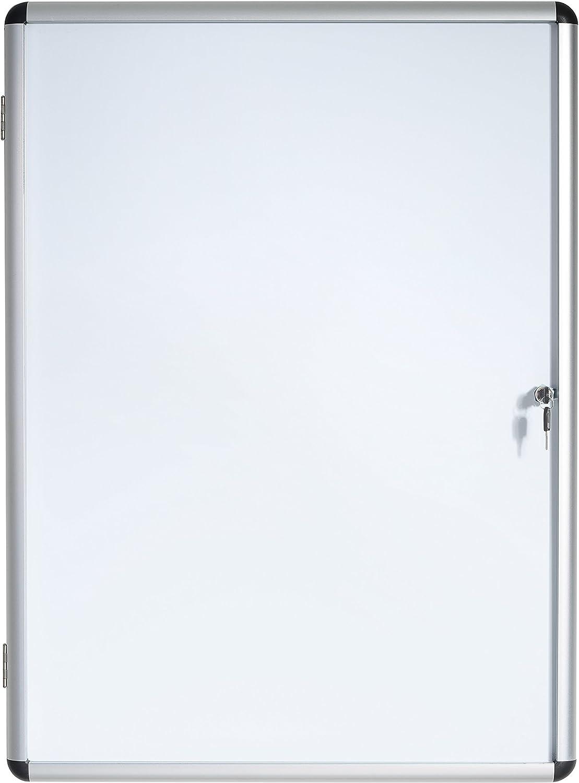 Bi-Office Enclore - Vitrina de interior Magnética para 1 Hoja A4, con Puerta de Aluminio y Cerradura, 280 x 367 mm
