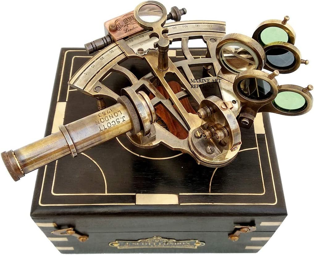 J. Scott London Brass Sextant with Box, Nautical Maritime Gift, Navigational Collectible