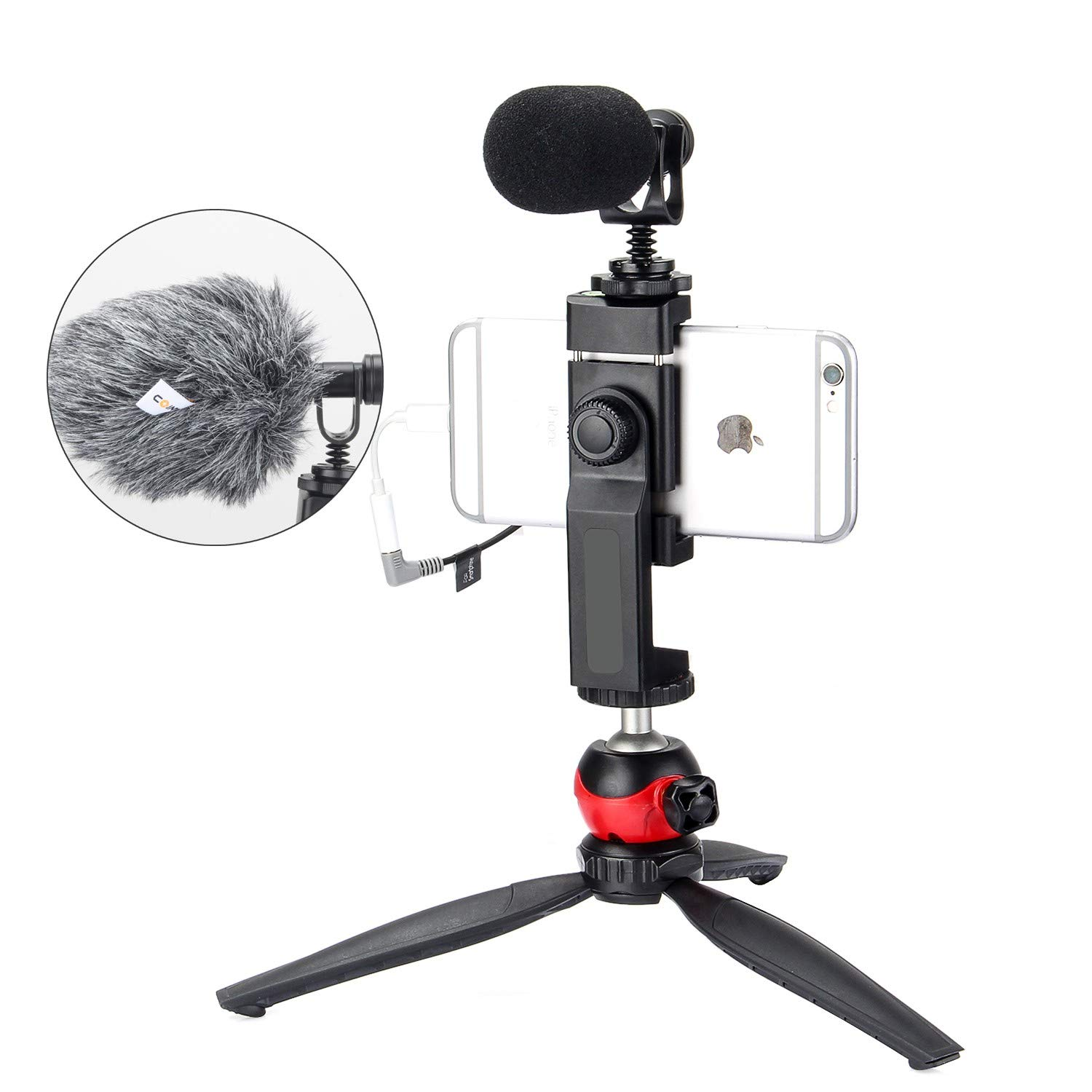 EACHSHOT Smartphone Phone Video Film Recording Microphone Kit Filmmaker Mini Tripod with Shotgun Video Mic Video Rig for iPhone X 8Plus 8 7Plus 7 Samsung Huawei etc. by EACHSHOT