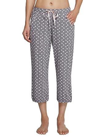 Schiesser Damen Schlafanzughose Mix & Relax Jerseyhose 3/4 Lang, Grau (Grau  200