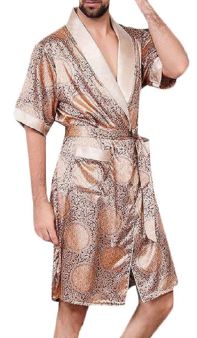 Joe Wenko Mens Kimono 2 Piece Silk Bathrobe Loungewear Short Sleeve Robe