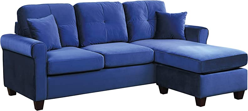 Amazon.com: Lexicon 83-Inch Velvet Reversible Sofa Chaise, Blue: Furniture & Decor