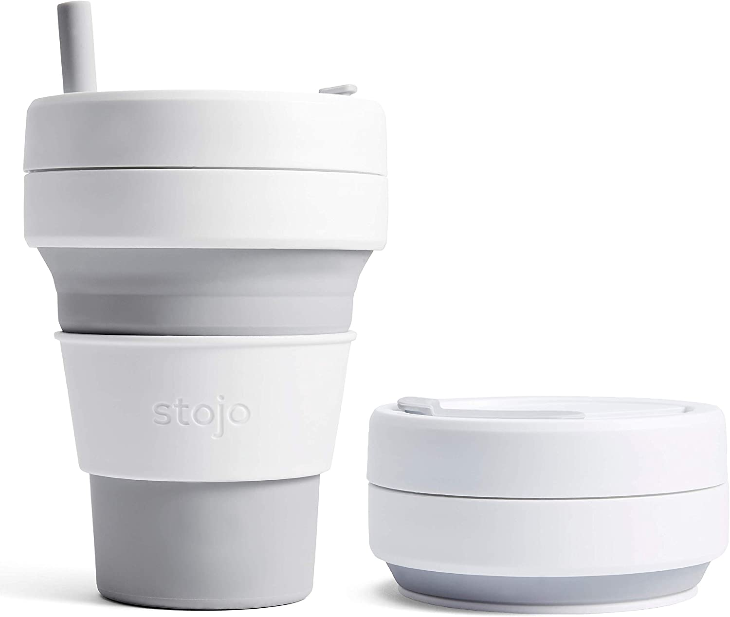Stojo On The Go Collapsible Coffee Cup   Pocket Size Collapsible Silicone Travel Cup   Brooklyn Collection 12oz 355ml Coral