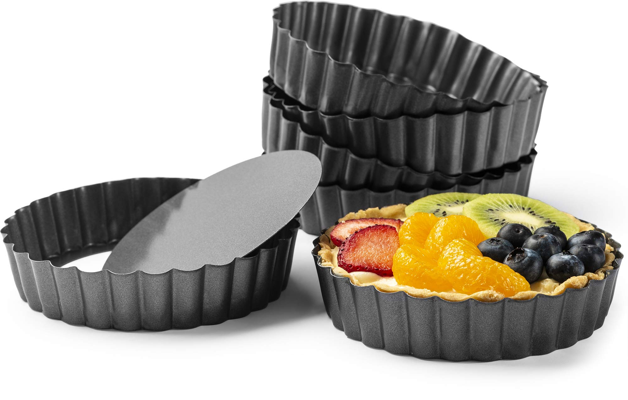 Gourmia GPA9375 Mini Tart Pans with Removable Bottom - 6 Pack, 5'' Diameter, 1'' Depth - Non Stick Carbon Steel - Miniature Molds For Pies, Cheese Cakes, Desserts, Quiche pan and More by Gourmia