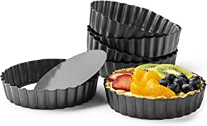 """Gourmia GPA9375 Mini Tart Pans with Removable Bottom - 6 Pack, 5"""" Diameter, 1"""" Depth - Non Stick Carbon Steel - Miniature Molds For Pies, Cheese Cakes, Desserts, Quiche pan and More"""