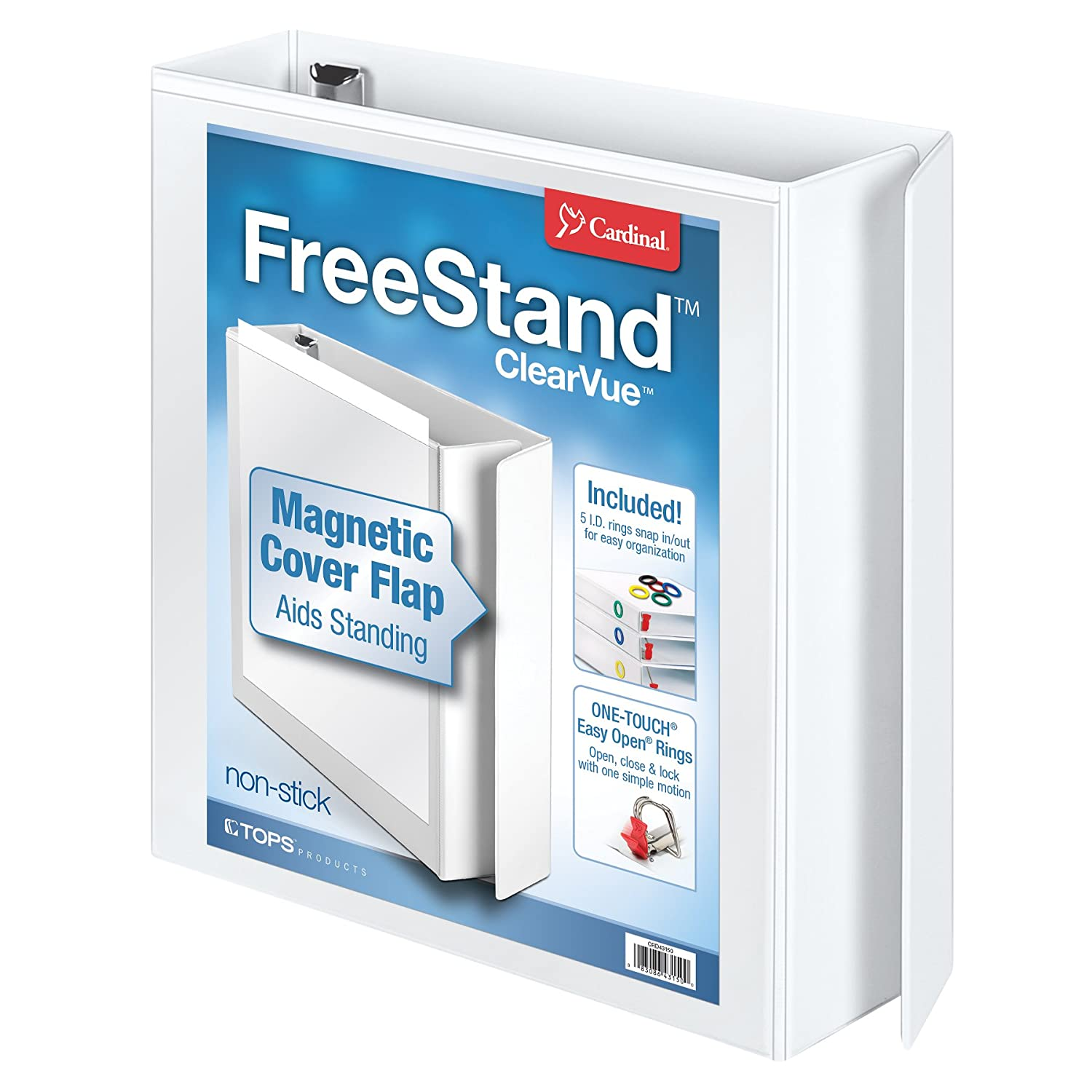 Cardinal by TOPS Products FreeStand EasyOpen ClearVue Binder with Locking Slant-D Ring, 3 Inch, White (43130)