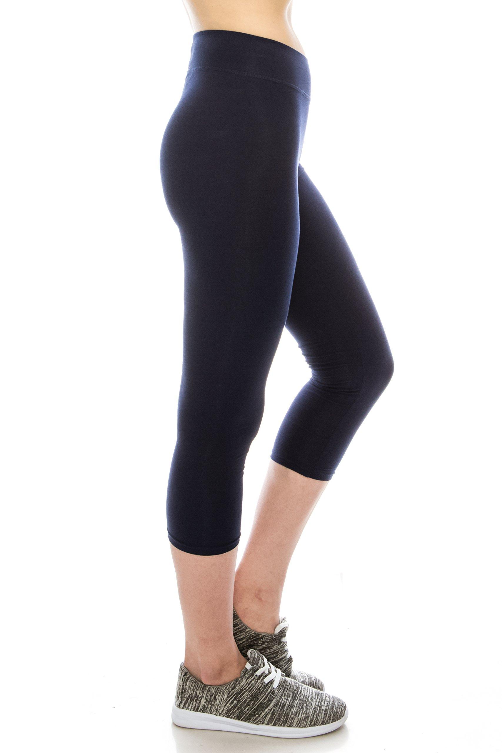 Cotton Spandex Basic Knit Jersey Capri Leggings for Women Navy XL