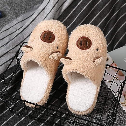 FPXNBONE Foam Casa Zapatos Antideslizante Pantuflas,Zapatillas de algodón Piglet para Mujer, Zapatillas de Piel ...