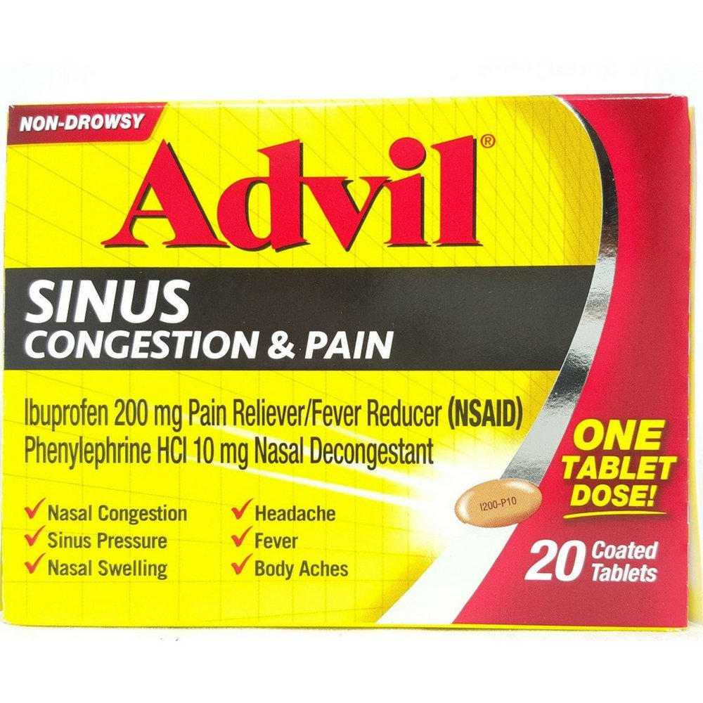 Advil Sinus Congestion & Pain, Coated Tablets 20 ea ( Pack of 6) by advil
