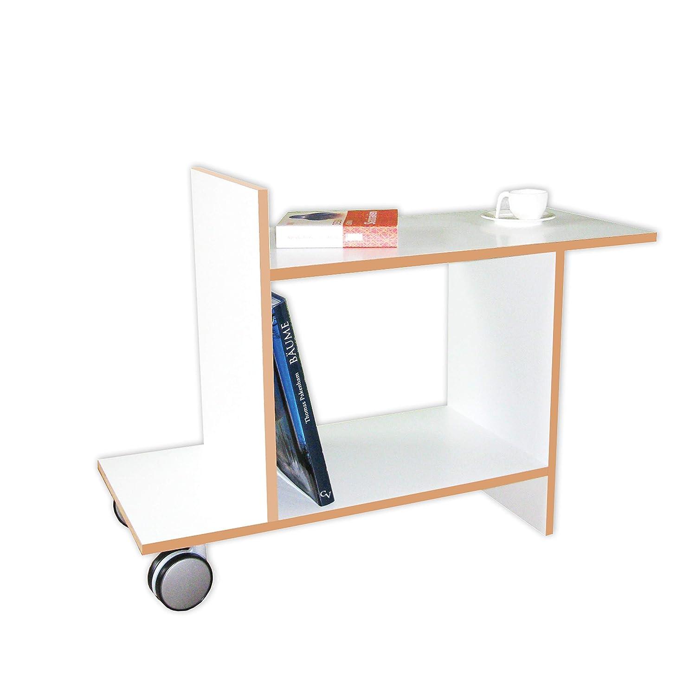 Tojo Freund   Beistelltisch mit Rollen   Designer Beistelltisch aus Holz   Weiß   Modernes Design   Kleiner Tisch für Wohnzimmer/Küche/Sofa/Couch oder Büro   80 cm x 32 cm (L x T)   58 cm Hoch