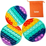 Sfee 3 Pack Fidget Push Pop Silicone Pop Bubble Fidget Toy Kit, Push Pop Pop Bubble Sensory Stress Toy Popping Game…
