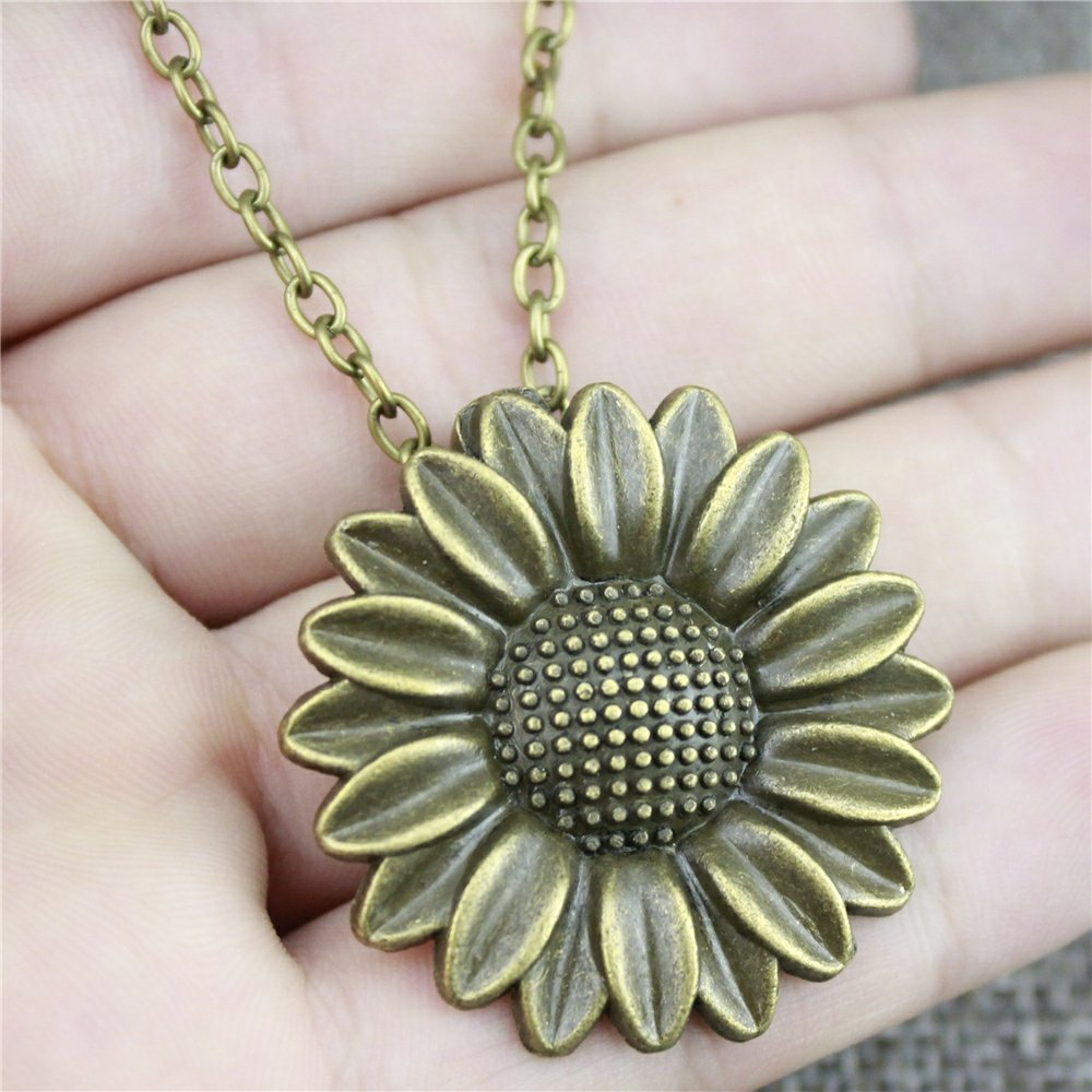 NEWME Sunflower Charms Metal Chain Necklace For New Year Handmade Jewelry Kraftpaper Box Gifts