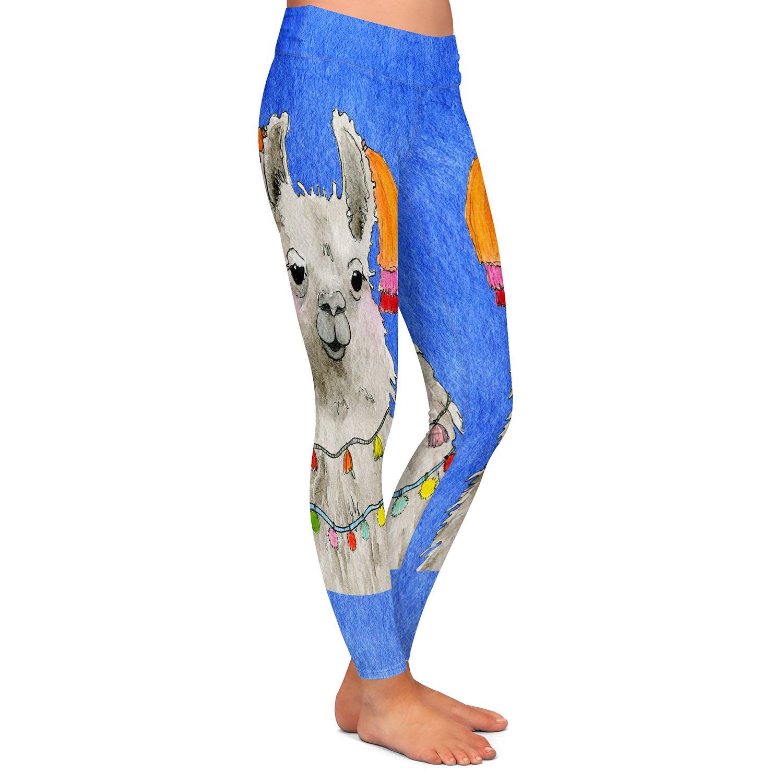 Athletic Yoga Leggings from DiaNoche Designs by Marley Ungaro Tassels Llama Blue