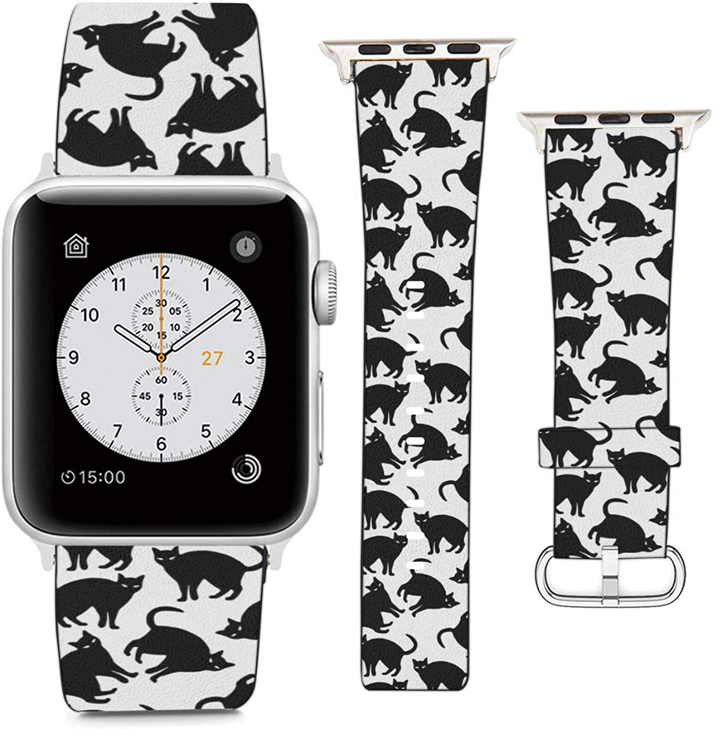 Compatible with Apple Watch Wristband 42mm 44mm, (Black Cat Pattern) PU Leather Band Replacement Strap for iWatch Series 5 4 3 2 1