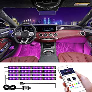 CHDZKEDI Interior Car Lights Multicolor Music Car LED Strip Light, Waterproof Underdash Lighting Kits with Sound Active and App Controlled Car led Lights Interior with USB Port, 4pcs 48 LED, DC 12V