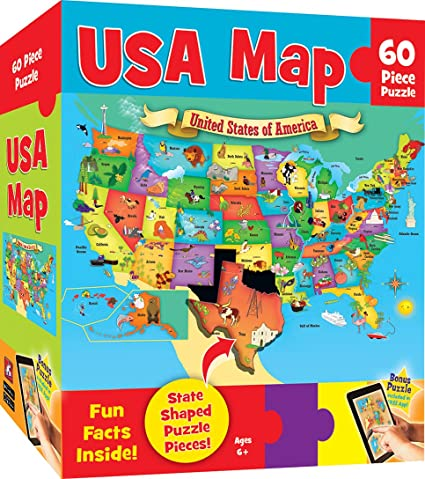Amazon.com: MasterPieces Explorer Kids - USA Map - 60 Piece Kids ...