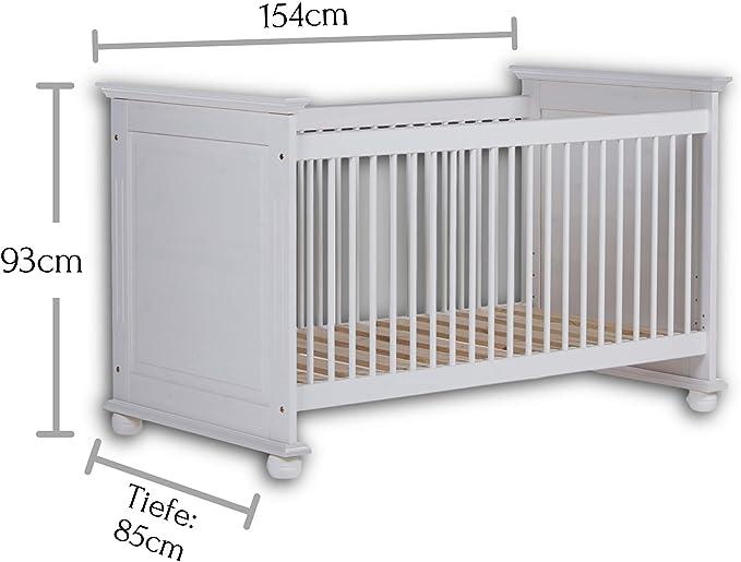 B//H//T Sch/önes Baby Gitterbett f/ür einen geborgenen Schlaf in wei/ß Stella Trading BIBO Sicheres Babybett mit 70 x 140 cm Liegefl/äche 82 x 81 x 144 cm