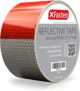 XFasten Reflective Tape, Red and White, 2 Inches by 5 Yards - High Intensity - DOT-C2 Safety Tape Waterproof Conspicuity Trailer Reflector