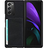 SunYoo for Samsung Galaxy Z Fold 2 Shell Case, Cover with Litchi Genuine Leather & Foldable & Card Slot Compatible for…