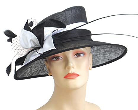 8c7a0debbb5a7 Ms Divine Women s Sinamay Church Derby Hats Formal Dress Wedding Hats  J002  (Black White) at Amazon Women s Clothing store