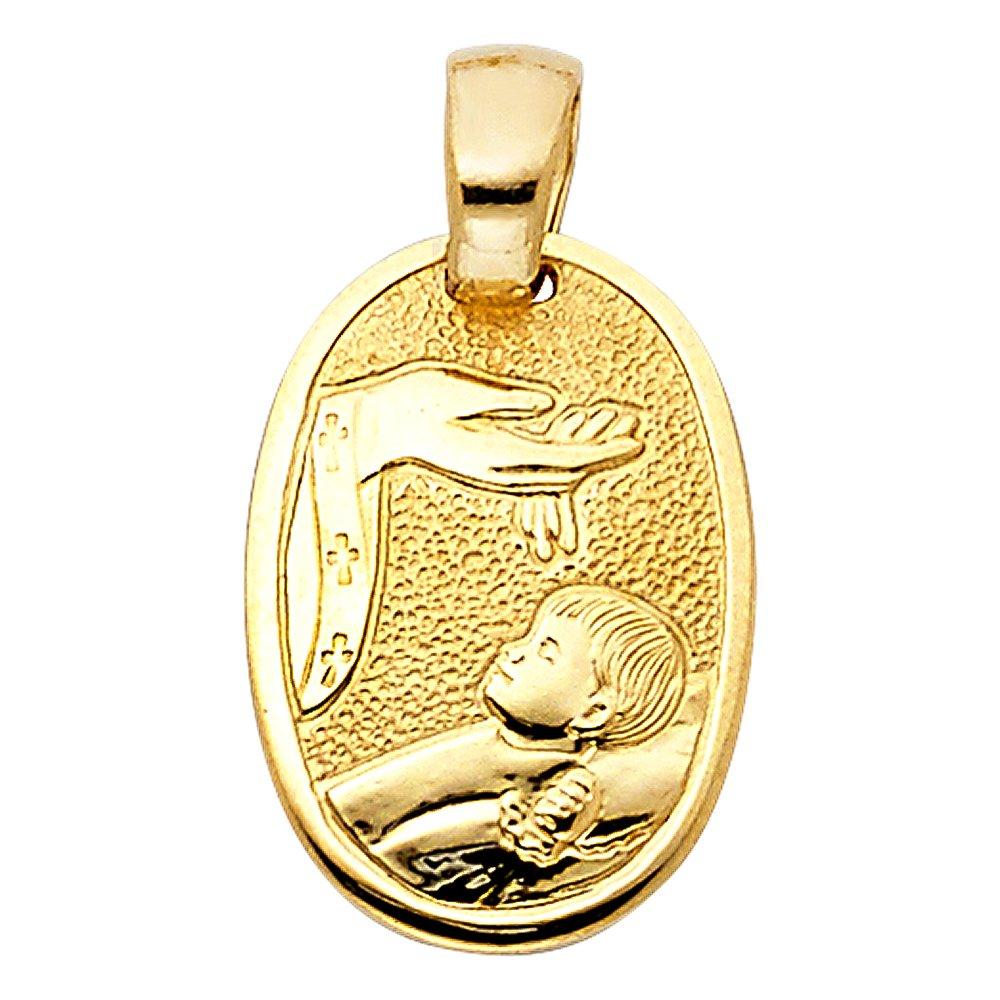 14k Yellow Gold Baptism Religious Pendant Charm