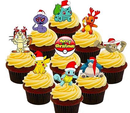 Gateau De Fete De Noel.Pokémon Lot De Fête De Noël Comestible Pour Cupcakes