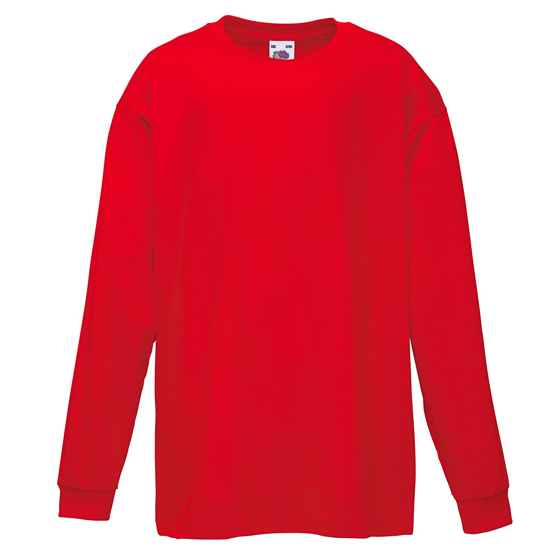 Fruit of the Loom Kinder T-Shirt Langarm 2 St/ück//Packung