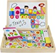 Yoptote Lavagna Magnetica Giochi Puzzle di Legno con Doppie Lati Magnetica Puzzle Lettere e Numeri Giochi Costruzioni per Bambini 3+