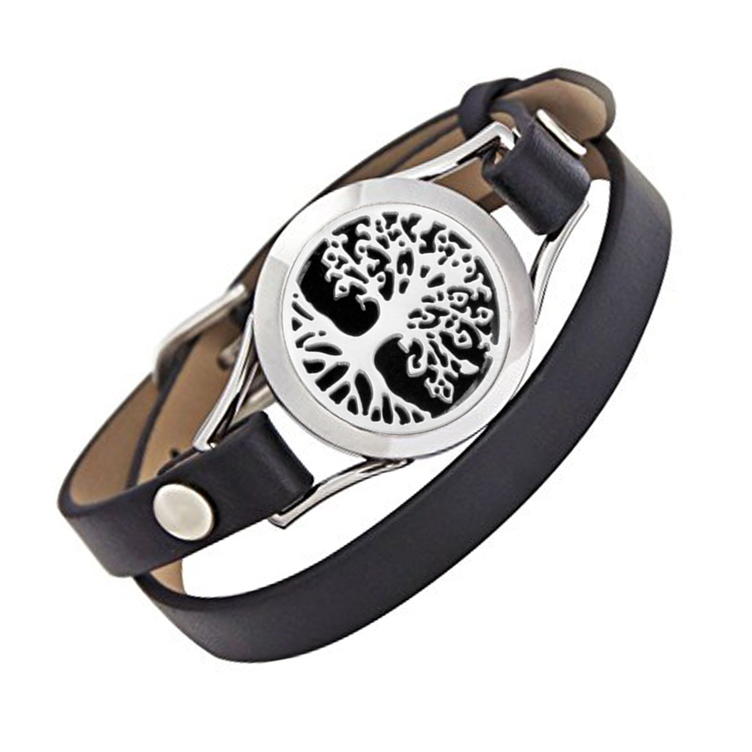 EVERLEAD Carving Round Aromatherapy Essential Oils Diffuser Locket Bracelet 316l Stainless Steel Real Leather Bracelet (style 11)