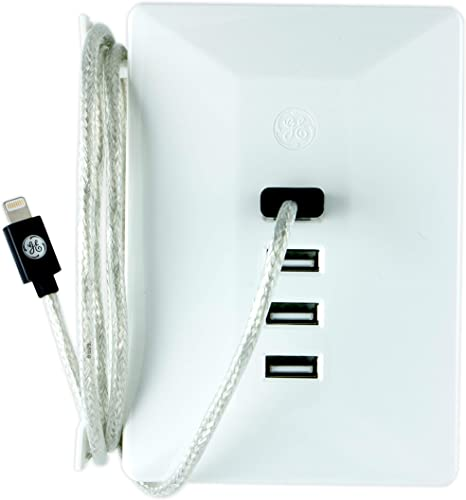 GE Ultra Pro USB Charging Station Surge Protector, 4 USB Ports, 4.8A USB, Built-In Cable Management, Ul Listed, White, 31712