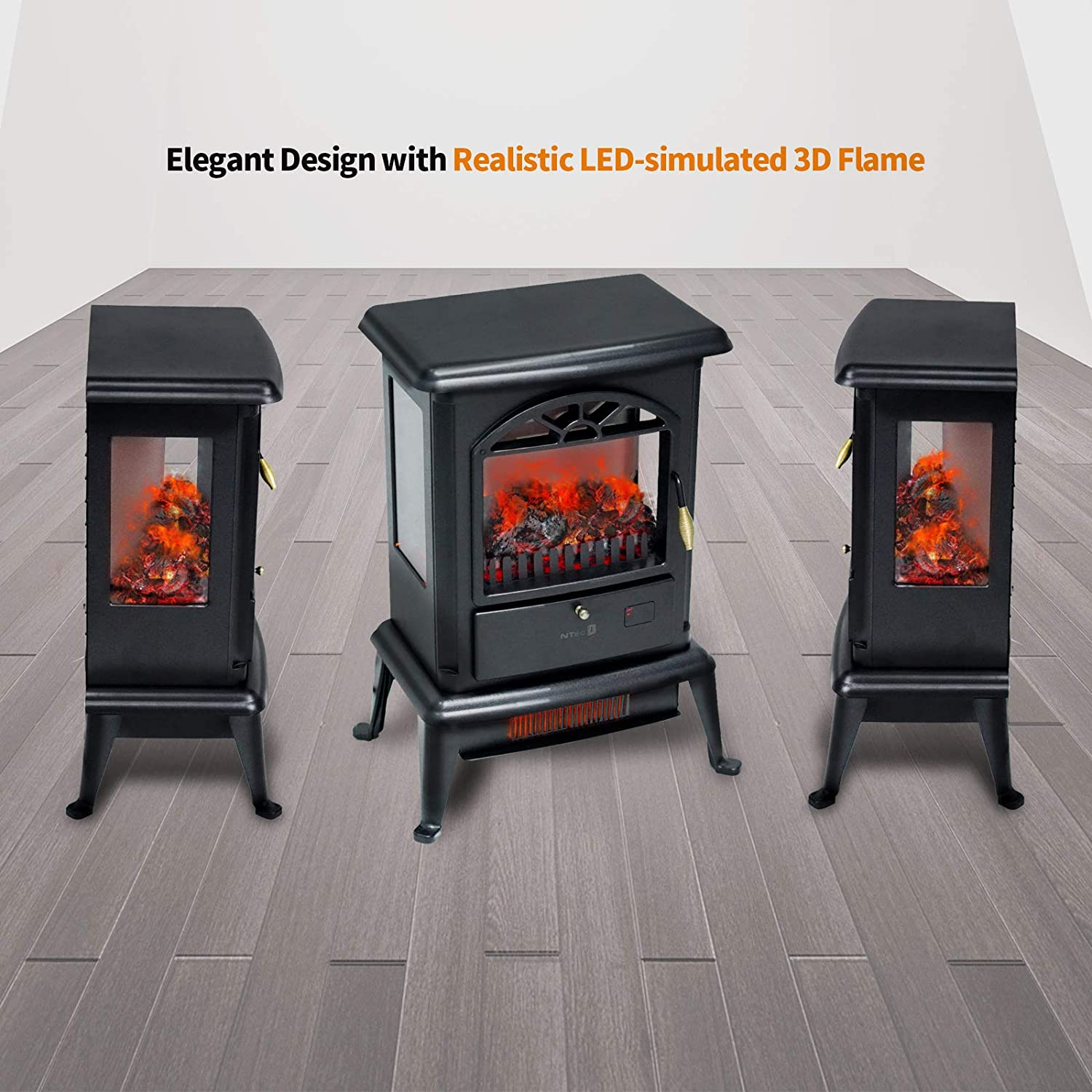 BEYOND BREEZE NTEC Electric Fireplace Stove,23 Inch 3D Infrared Fireplace Heater 1500W with LED Display,Remote Control,12 Hours Timer,Adjustable Brightness,Overheat and Tip-Over Protection