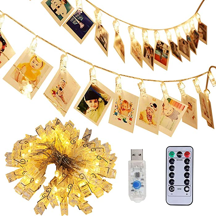 Adecorty 40 LED Photo Clip Lights - Photo Clips String Lights USB Powered Fairy Lights with Remote & Timer, Hanging Lights for Christmas Cards Pictures Holder, Teen Girl Gifts for Bedroom Decor