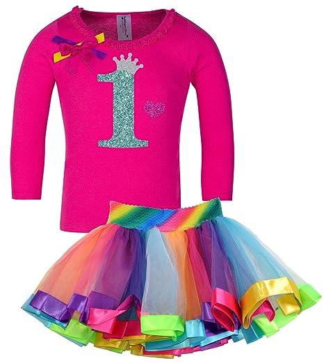 d2cab0ee6b Amazon.com: Bubblegum Divas Baby Girls' 1st Birthday Shirt Rainbow ...