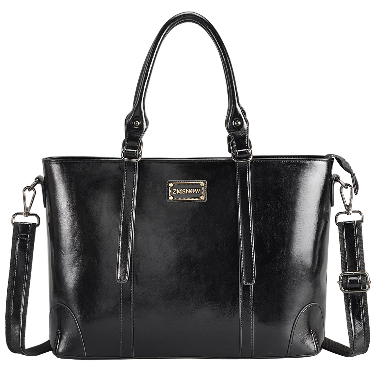 ZMSnow Laptop Bag,Elegant Tote Bag Fits up to 15.6 Inch Laptop for Women Work Business School Travel (Black)