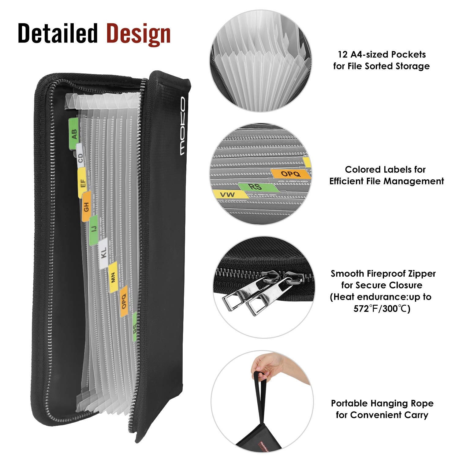 Black Non-Itchy Silicone Coated Portable Filing Pouch 14.3 x 9.8 MoKo Fireproof Document Bag Fire /& Water Resistant File Folder with A4 Size 12 Pockets Fireproof Waterproof Safe Document Holder