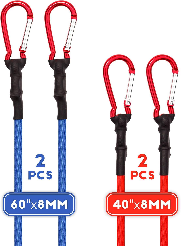 CARTMAN UV Treated Bungee Cord with Carabiner Hook 4PK