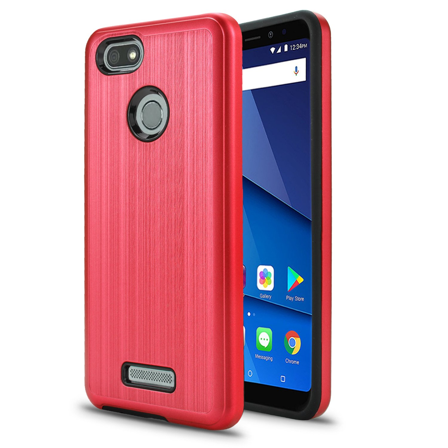BLU Vivo XL3 case, (V0250WW) 5.5 inch case, [ New Frontier Wireless], Tough Hybrid + Dual Layer Shockproof Drop Protection Metallic Brushed Case Cover for BLU Vivo XL3 case (VGC Hot Pink)