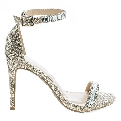 2503ea2b38e Wild Diva Berlin169 Rosegold Classic Mesh Glitter High Heel Dress Sandal  w Ankle Strap