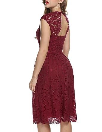 ACEVOG Damen Kleid Spitzenkleid Cocktailkleid Abendkleid Festlich ...