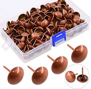 Hilitchi 200 Pieces 5/8'' (16mm) Round Dome Head Vintage Decorative Upholstery Nails Tacks Furniture Sofa Thumb Tacks Nails Pins with Clear Plastic Case (Red Copper)