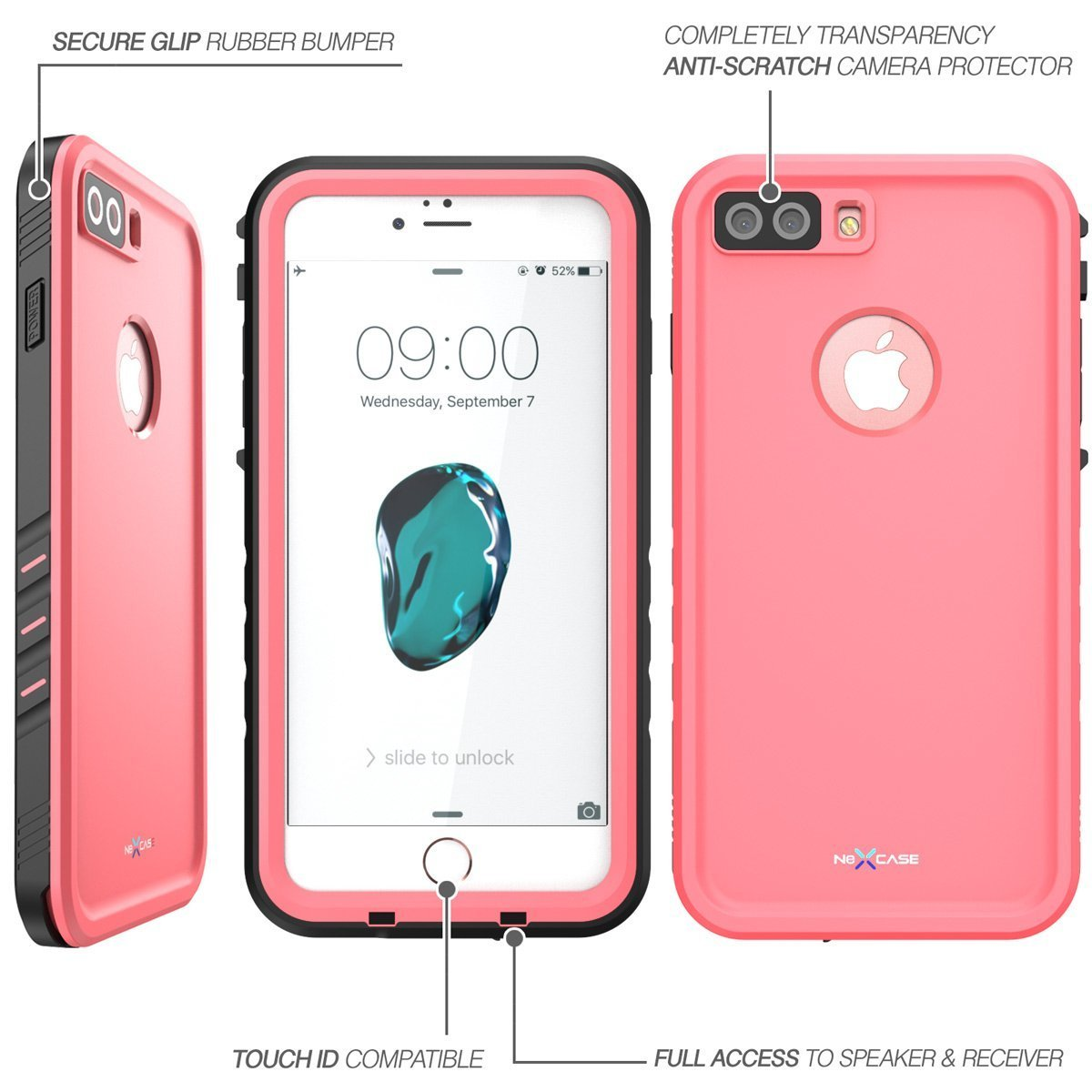 iPhone 7 Plus Case, NexCase Waterproof Full-body Rugged Case with Built-in Screen Protector for Apple iPhone 7 Plus 5.5 inch 2016 Release (Pink) by NexCase (Image #4)