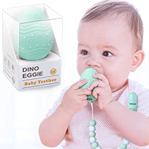 Dino Eggie Egg Teether Baby Teething Toy with Silicone Beaded Pacifier Holder Clip, BPA-Free, for Baby Boys and Girls - Mint