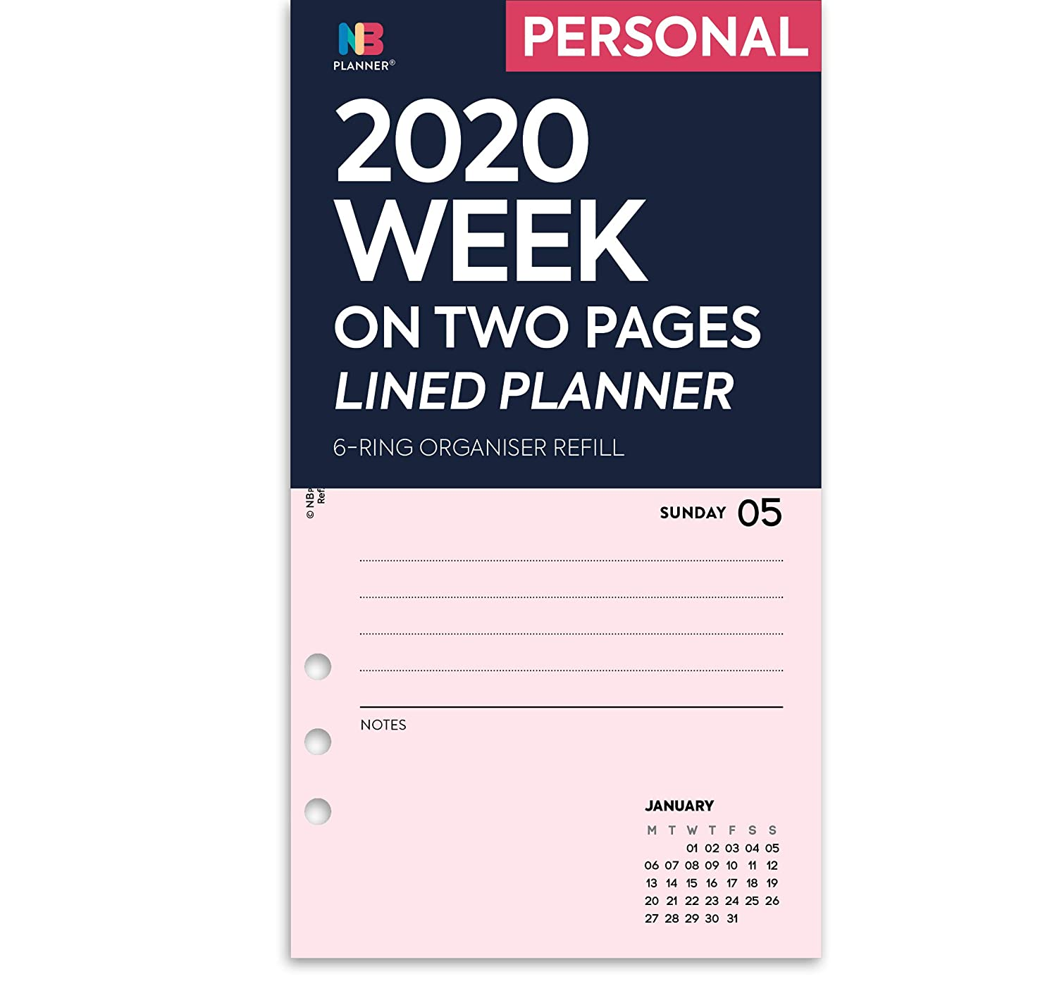 Personal: 95 x 171 mm NBplanner/® 2020 Week on Two Pages Lined Diary Organiser Refill Planner Insert Filofax Compatible Lilac