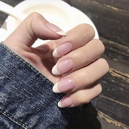 Jovono 24 uñas postizas de color rosa con un toque elegante para ...
