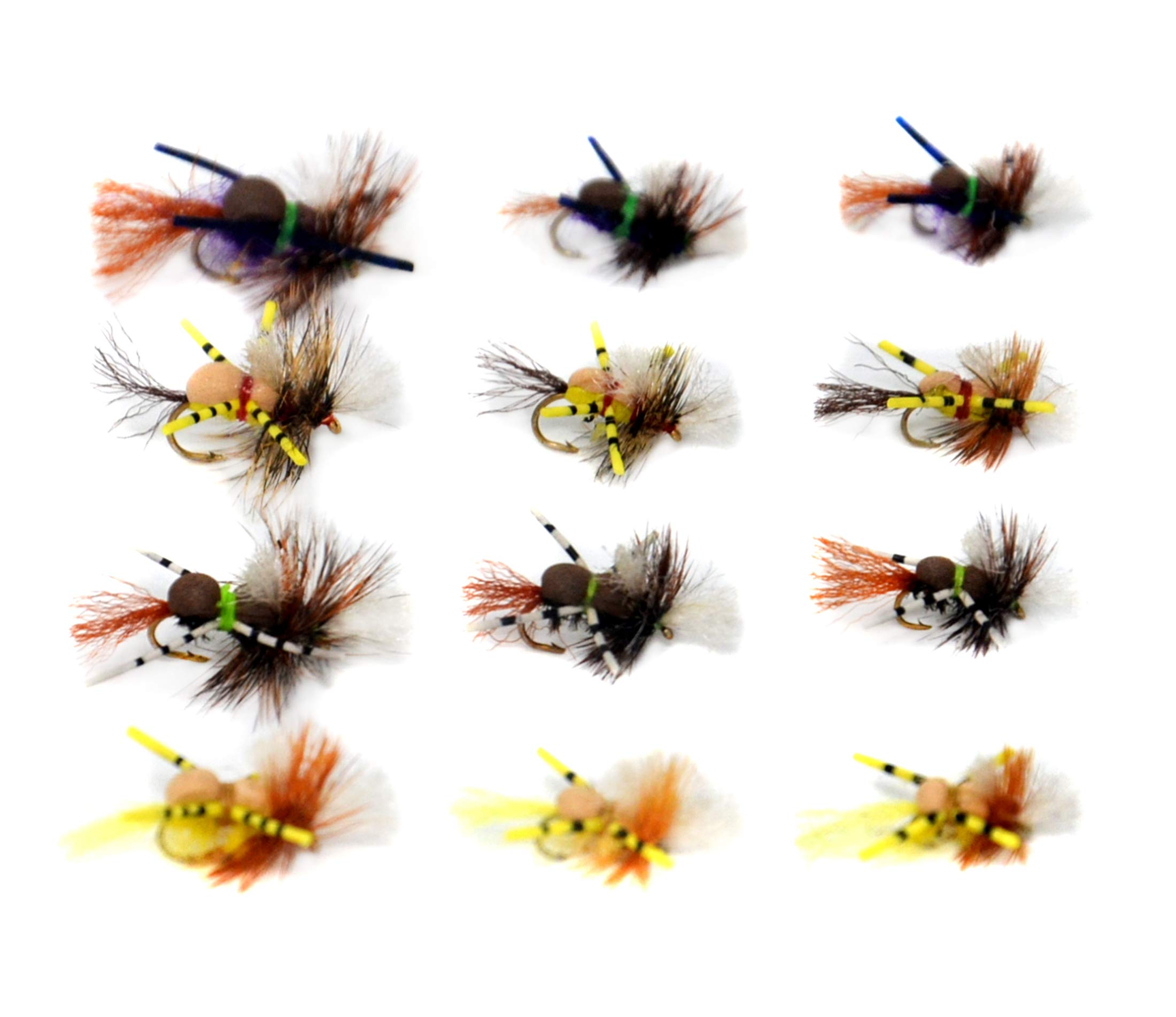 Outdoor Planet 12 Grumpy Frumpy Terrestrial Attractor Dry Flies Lure Assotment for Trout Fly Fishing Flies by Outdoor Planet