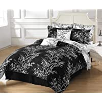 Chezmoi Collection 8-Piece Soft Microfiber Reversible Tree Branches Bed-in-A-Bag Comforter with Sheet Set