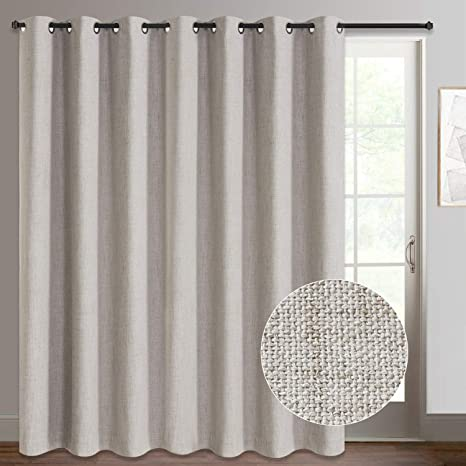 rose home fashion sliding door curtains primitive linen look 100 blackout curtains thermal insulated patio door curtains 1 panel 100x84 beige